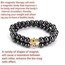 Черный магнитный браслет для женщин, крутые бусины, камень, терапия, здоровье, для мужчин, гематитовый магнит, бусины, браслет для потери веса, стиль