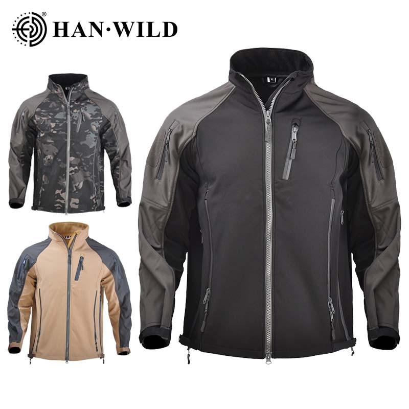HAN WILD Tactical Skin Men Hooded Hunting Jackets Climbing Trekking Windbreaker Camouflage Jacket Autumn Winter Waterproof