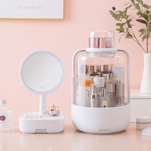 LED Makeup Mirror With Light Desktop Student Dormitory Storage Box Girl Beauty