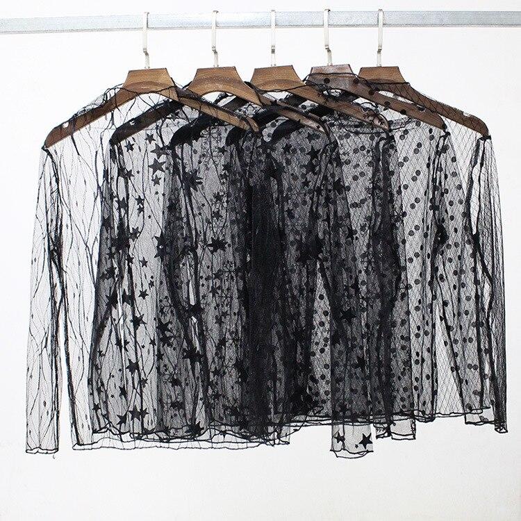 Женская кружевная блузка в горошек, элегантная прозрачная сетчатая блузка с длинным рукавом и узором в виде звезд, топы для осени и зимы|Блузки| | АлиЭкспресс