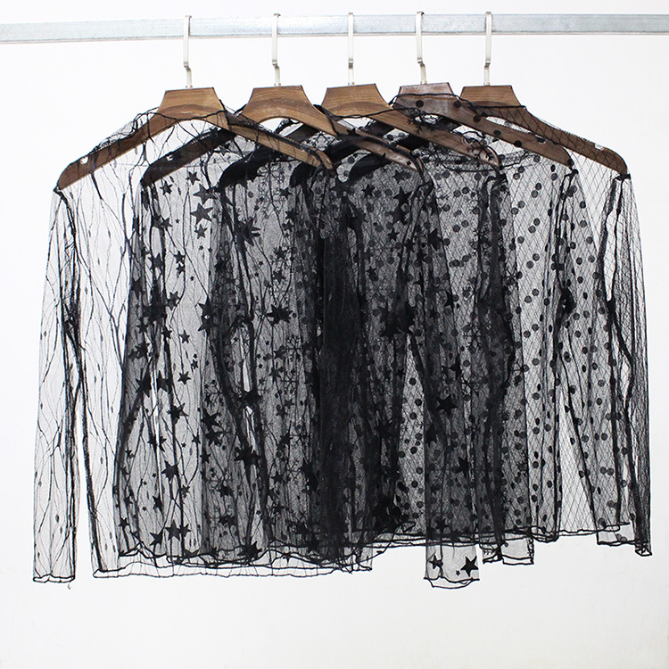 Elegant Lace Blouse Shirt Sexy Hollow Out Dot Star Pattern Mesh Transparent Blouse Women Long  Sleeve Autumn Winter Tops Female