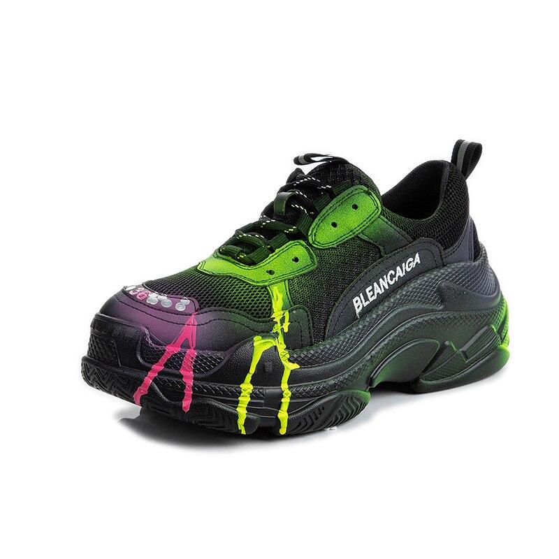 Women Chunky Sneakers Thick Sole Vulcanize Shoes Korean platform New Female Black White Platform Running Casual Shoe Woman 6cm