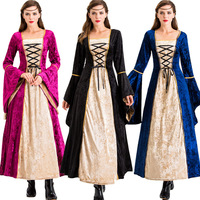 2019 Halloween Cosplay Scary Costumes Vampire Witch Costume Women Medieval Victorian Masquerade Costume Black Fashion Maxi Dress