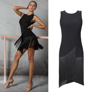 Image 1 - 2020 라틴 댄스 드레스 여성 살사 드레스 탱고 룸바 섹시한 프린지 드레스 성인 볼룸 라틴 댄스 경연 대회 의상 DQS1205
