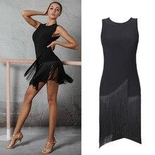 2020 Latin dans elbise kadın Salsa elbise Tango Rumba seksi Fringe elbise yetişkin balo salonu Latin dans yarışması kostümleri DQS1205
