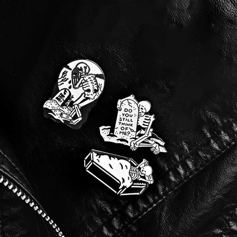 Czaszka przypinki na klapę smutna para wieczna miłość aż do śmierci broszki odznaki torba ubrania emalia spinki biżuteria prezent dla ukochanej osoby