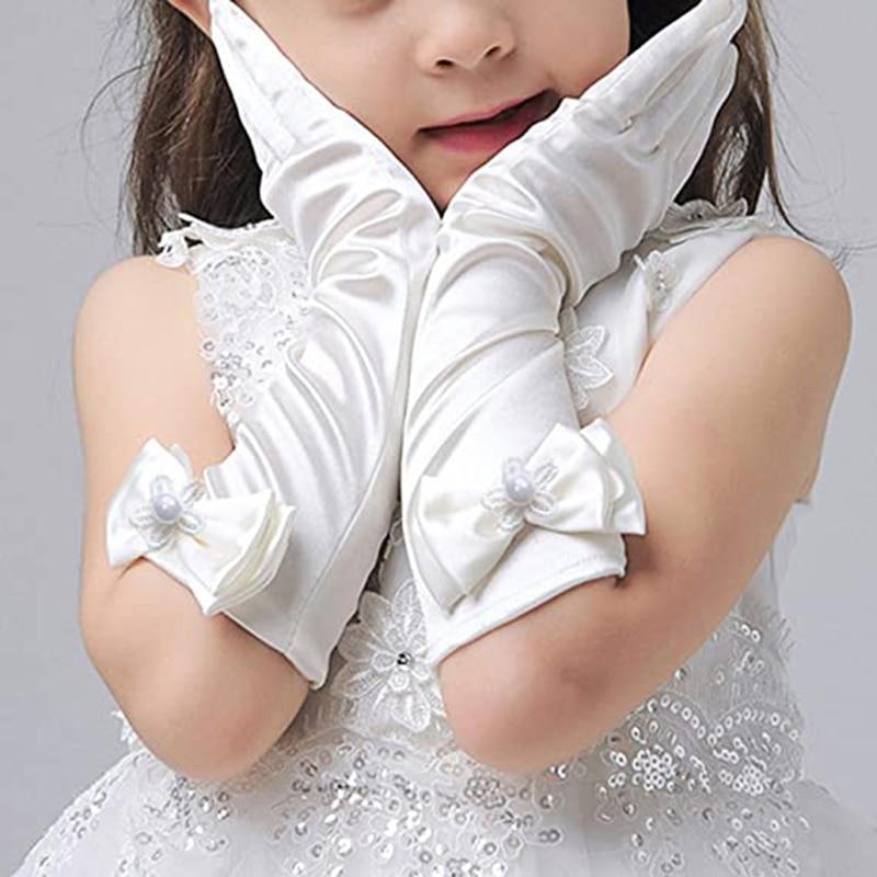 Girls Princess Dress up Bows Kids Size Formal Gloves Satin Dancing Host Performance Gloves LXH