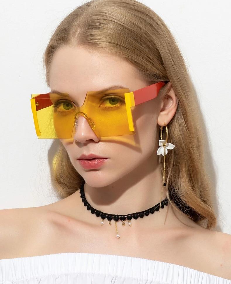 Luxury Brand Women's Sunglasses Square Sunglass Lady Designer 2021 trend Cool Vintage Retro Sun Glasses Rimless Shades For Women (7)