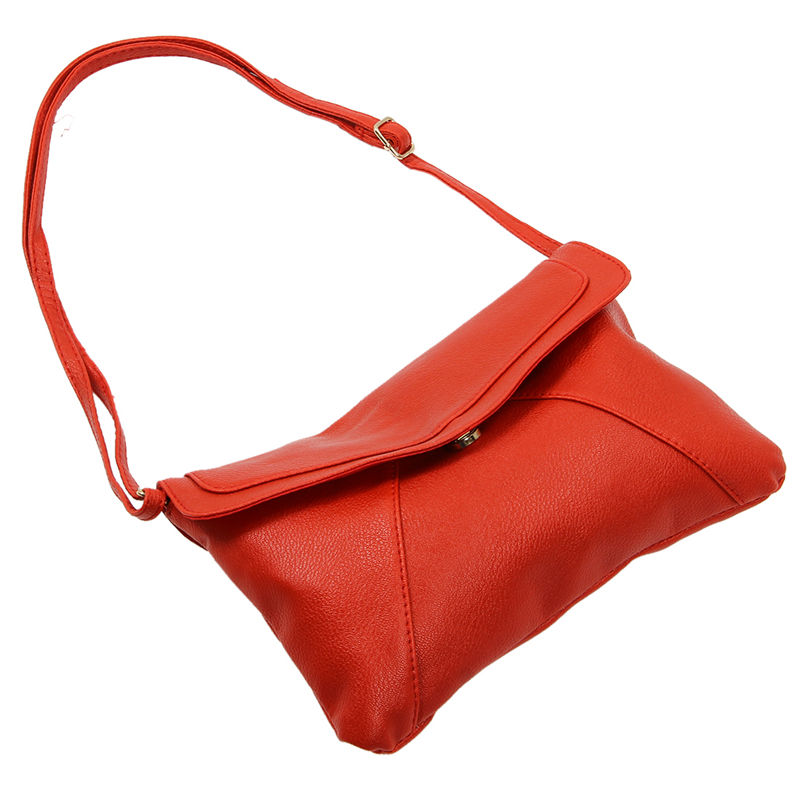 New Fashion Women's Envelope Bag Leather Messenger Bags Handbag Shoulder Crossbody Cross Body Bags Purses Satchels Bolsas Red