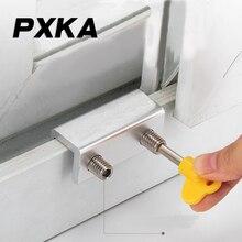 Free shipping 2pcs window lock aluminum alloy door and window child protection translation push-pull anti-theft limiter