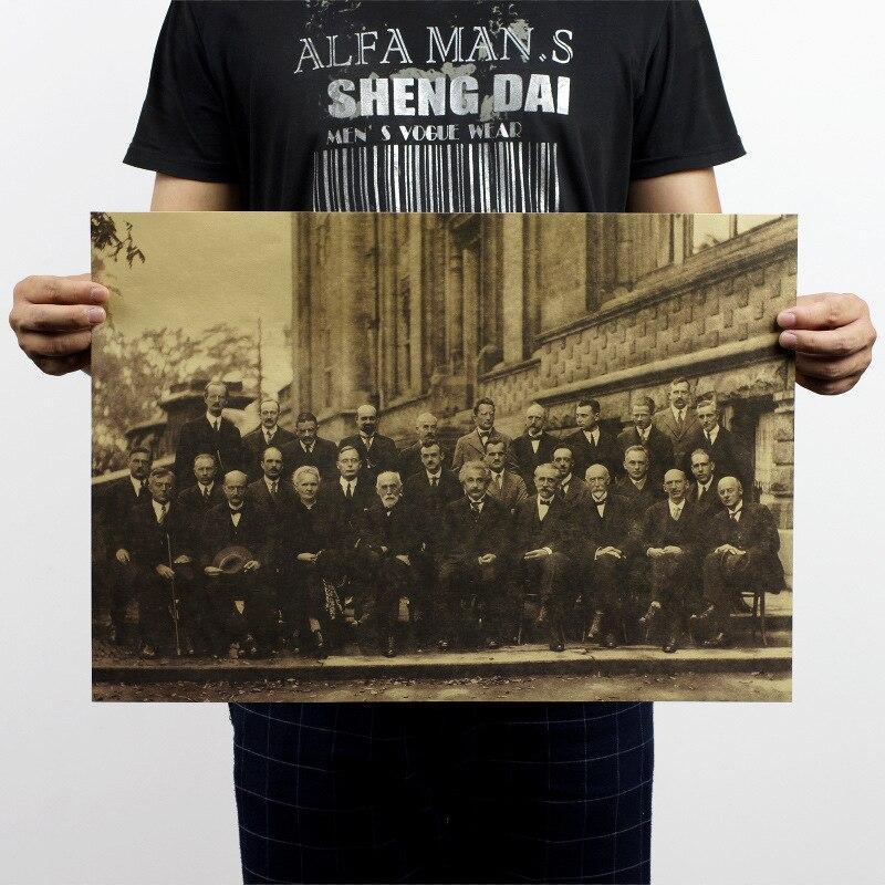 Scientists Solvay Conference Vintage Kraft Paper Movie Poster Map School Decor Wall Decals Art DIY Retro Decor Prints