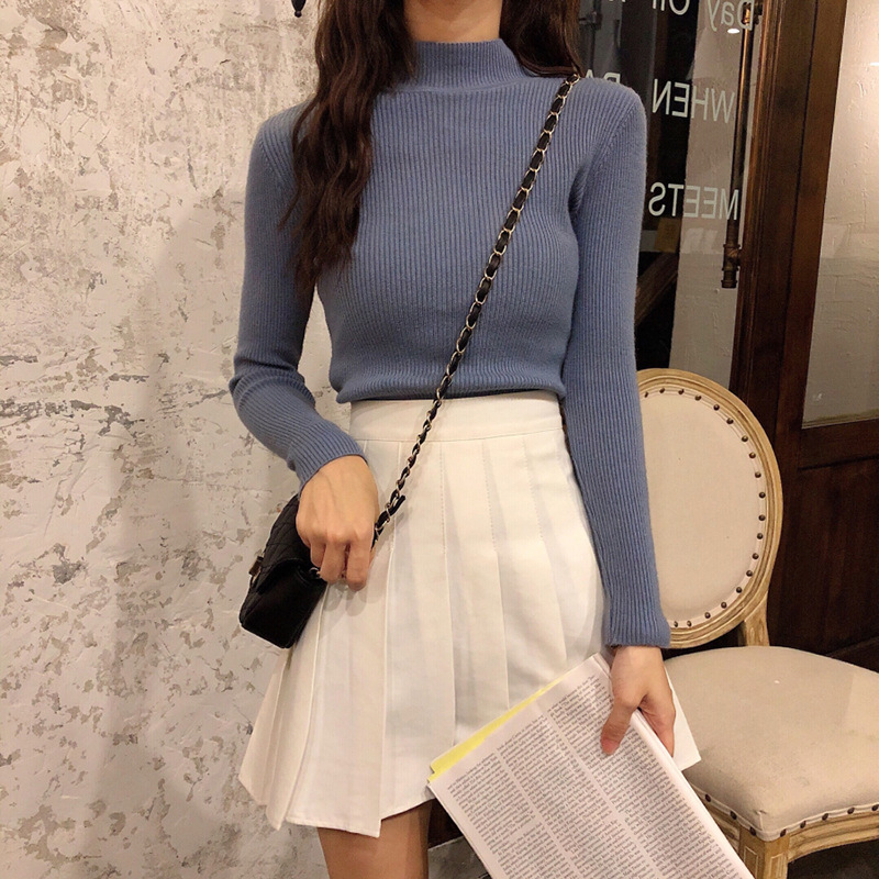 Bottoming Shirt Women's Autumn and Winter 2019 New Sweater Western Style with High Collar and Outer Wear Korean Ins Wild Warm