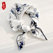 White natural silk scarf printed magnolia for women 100% real silk soft high qua