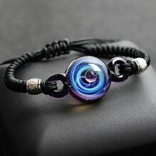 BOEYCJR Hot Universe Planets Glass Bead Bangles & Bracelets Fashion Jewelry Galaxy Solar System Bracelet For Women Christmas