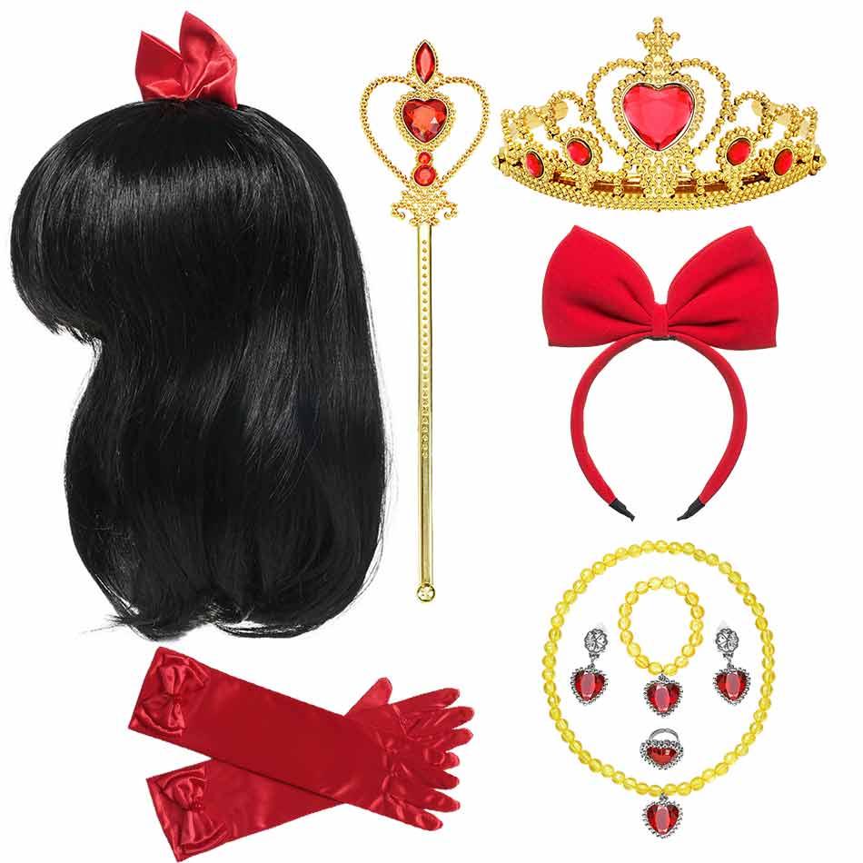 Синтетическая Тиара для платья Белоснежки для маленьких девочек, аксессуары для косплея принцессы Белоснежки, корона, повязка на голову, пе...
