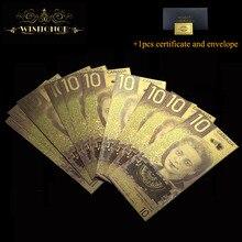 10 шт./лот золотые банкноты канадского цвета 10 канадских долларов золотые банкноты для сувенирных подарков