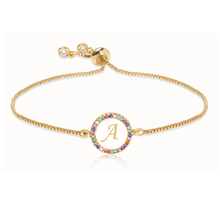 Adjustable Rainbow Zircon 26 Letter Bracelet for Women shell