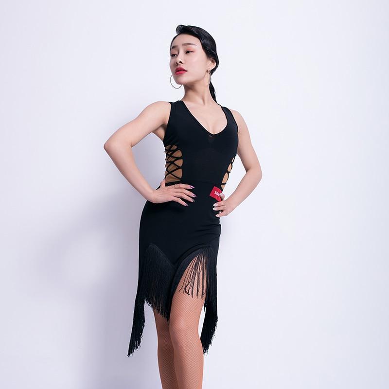 Sexy Latin Dance Dress Women Tango Salsa Cha Cha Samba Rumba Fringe Dresses Performance Outfit Ballroom Practice Wear DF1614