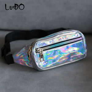 Holographic Waist Bags Women Pink Fanny Pack Laser Female Belt Bag Small Waist Packs Chest Phone Pouch Ladies Mini Messager Bag