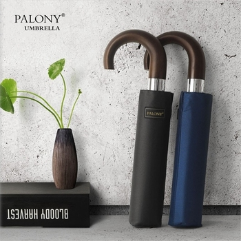 PALONY  brand Wind Resistant Folding Automatic Umbrella Male Auto Luxury Big Windproof Umbrellas For Men Rain Black Coating 10K wind resistant three fold automatic umbrella rain women auto luxury big windproof umbrellas men black coating 10k parasol gift