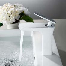 Смеситель для раковины в ванную комнату Цвет Белый/хром/матовый