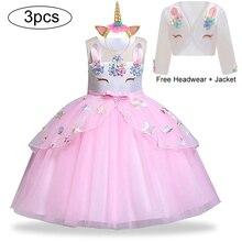 Unicorn parti elbise çocuklar kızlar için elbiseler kostüm kız elbise çocuk kız prenses elbise bebek noel yeni yıl elbise