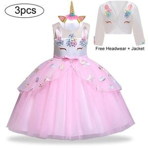 Image 1 - Unicorn parti elbise çocuklar kızlar için elbiseler kostüm kız elbise çocuk kız prenses elbise bebek noel yeni yıl elbise