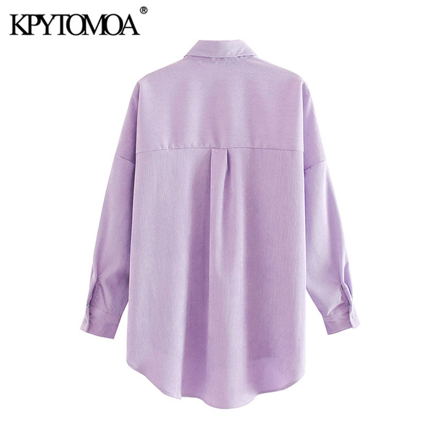 KPYTOMOA Women 2020 Fashion Pockets Oversized Corduroy Shirts Vintage Long Sleeve Asymmetric Loose Female Blouses Chic Tops 2
