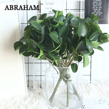 38cm 5Fork Plastic Leaves Artificial Eucalyptus Leaf Tropical Tree Branch Green Plant Fake Foliage Wall For Home Fall Decor