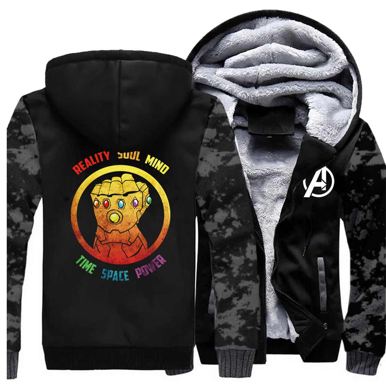 Avengers inverno masculino grosso casaco de lã quente camo thanos infinity gauntlet moletom com capuz jaquetas raglan engrossar roupas esportivas