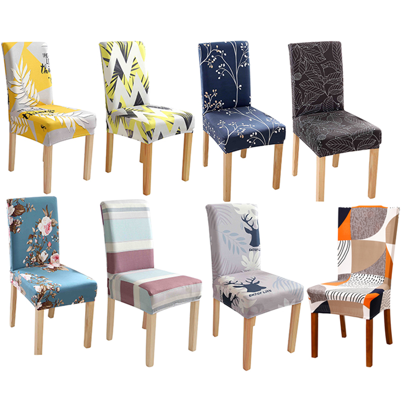 Universal Printed Elastic Chair Covers Dining Spandex Stretch Removable Slipcovers For Dining Room Banquet Wedding Kitchen