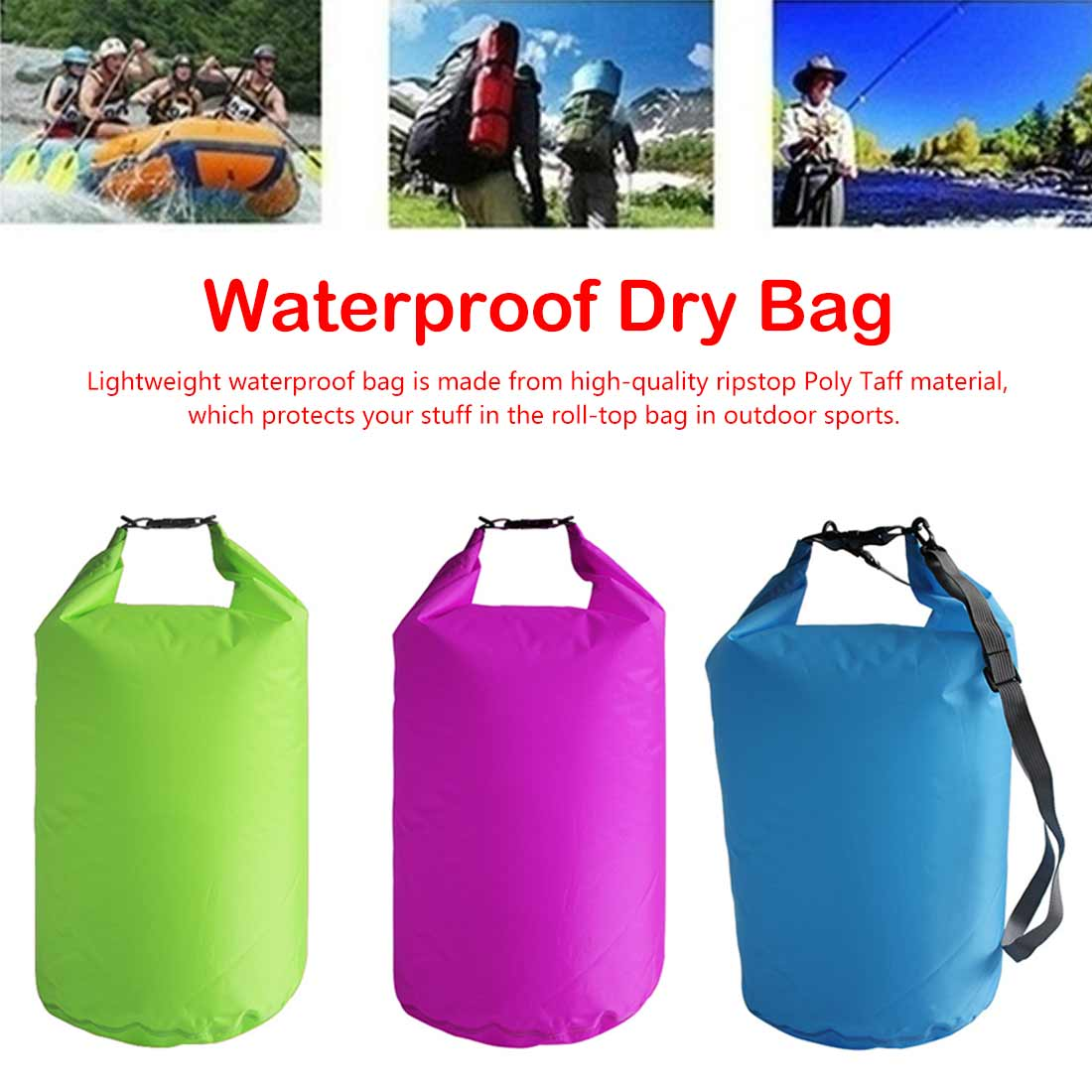 For Boating Fishing Rafting Swimming 5L/10L/20L/40L/70 Outdoor Dry Waterproof Bag Dry Bag Sack Waterproof Floating Dry Gear Bags