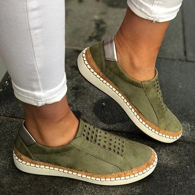 2020 Women  Flats Shoes Zapatos Mujer Round Toe Slip On Shoe Woman Gladiator PU Leather Sapato Chaussure Womans Shoes E2020