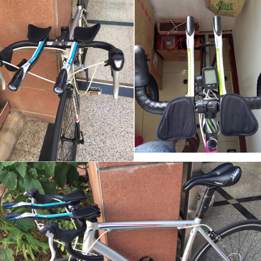 TEMANI Carbon Road Bike Triathlon aero bar Bullhorn Handlebar Armrest Set White