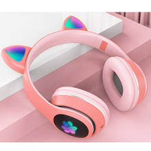 Noise Cancelling Headset Flash-Light Girl Bluetooth 5.0 Cute Music Stereo with Mic LED
