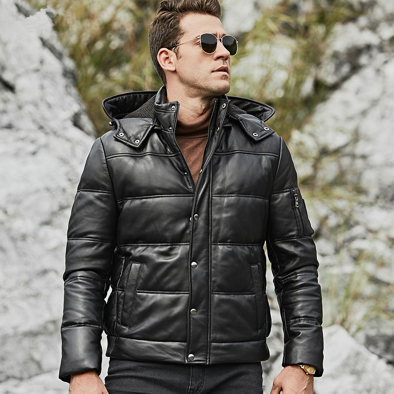 Leather Jacket Men Sheepskin Geunine Leather Jacket Men Plus Size Duck Down Winter Coat For Mens Clothing Casacos 153 YY767