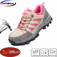 dewbest New breathability boots women safety work shoes  steel toe and steel sole breathable light weight casual  safety boots