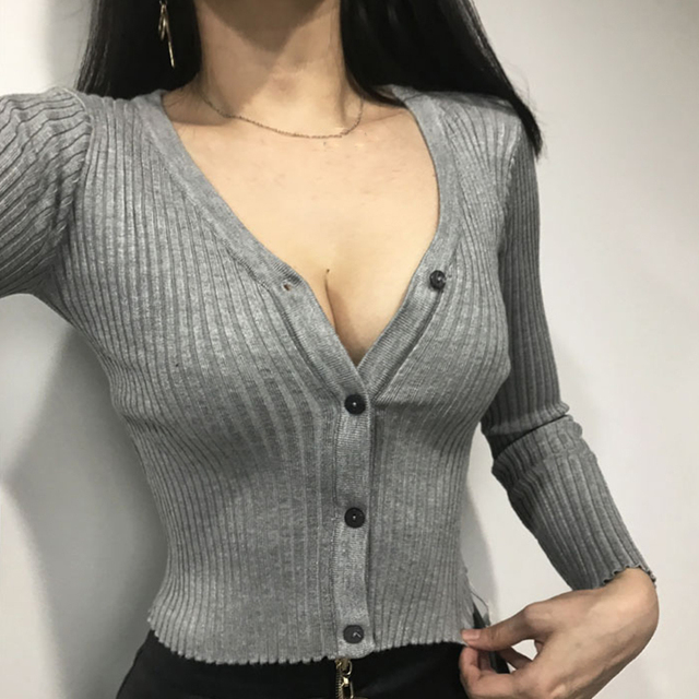 Sexy Knitted Cardigan Sweater with Buttons for Women
