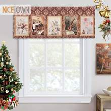 Nicetown 1 Pc Tasca Asta Stampato Tende Valance Tie Piccola Finestra Tende Romano Tulle Kitchen Cafe Soggiorno Decorativi Camera(China)