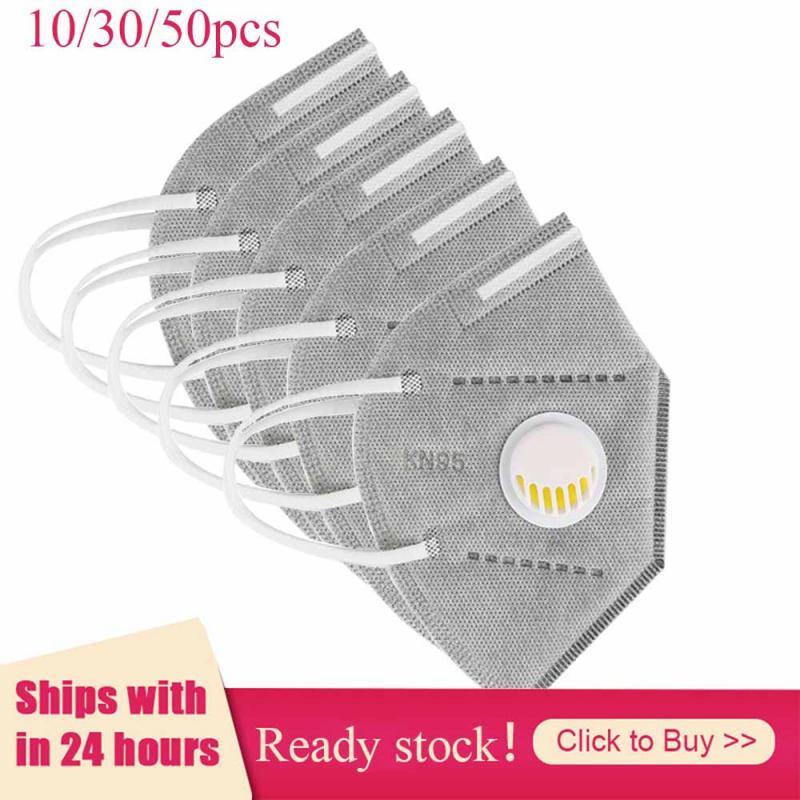 10/30/50PCS Reusable Mask - Valved Face Mask Respirator -Grey White-95% Filtration Masks Protective Masks In Stock
