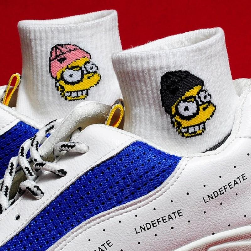 Fashion Cartoon Pattern Ankle Socks Street Skateboy Fun High Quality Happy Woman Cotton Socks