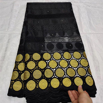 Gold/Black Circle Cotton African Laces Fabric 2019 High Quality Lace French Swiss voile Embroidery Lace Fabric 5Yards Wedding QZ
