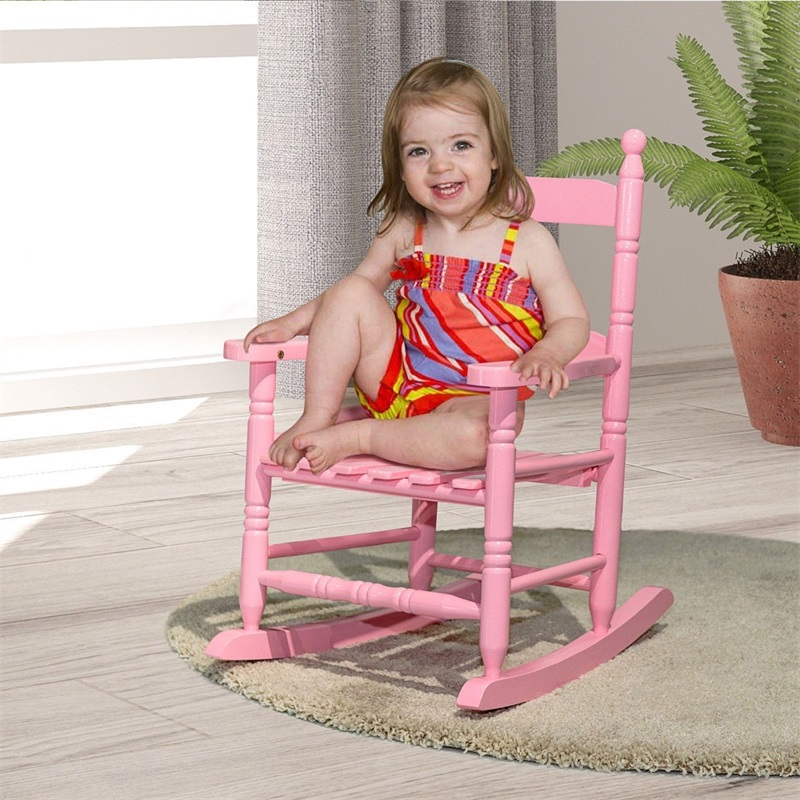 Solid Hardwood Hand Crafted Construction Classic Wooden Kids Rocking Chair Exquisitely Simple Style Kids Furniture HW56401