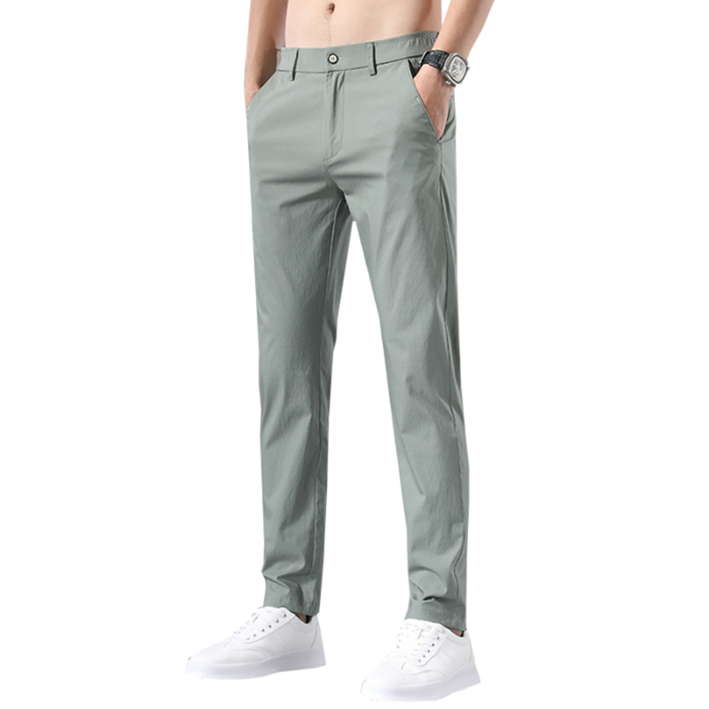 Ice silk cotton solid color casual pants men's Korean version of the trend of slim 9 9 2020 new thin spring and summer pants
