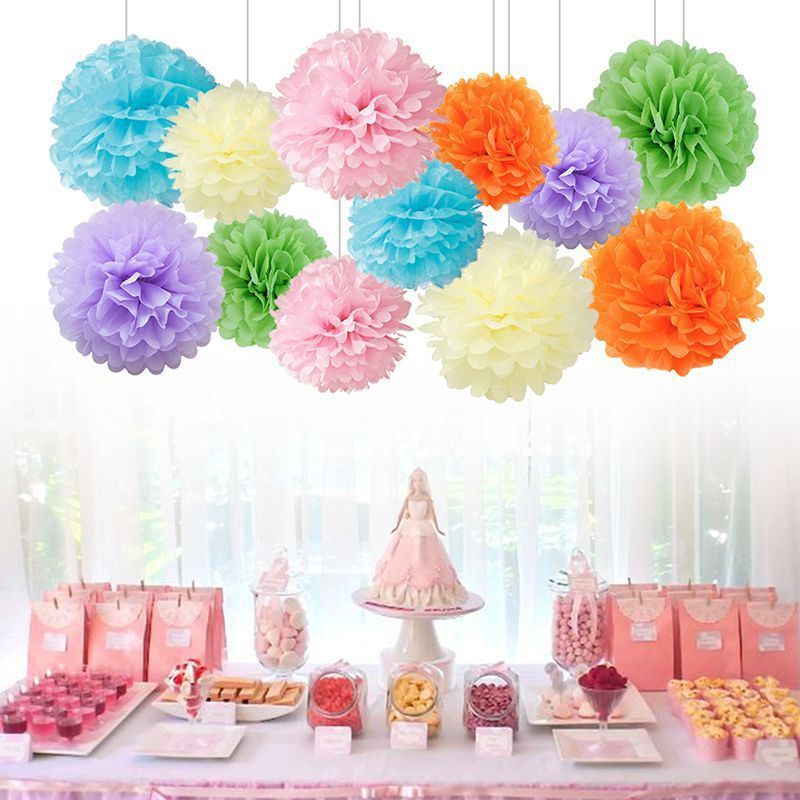 10pcs Romantic Beautiful Paper Pompoms Wedding Decorative Paper Flower Ball Baby Shower Birthday Party Decoration Paper Pom Poms