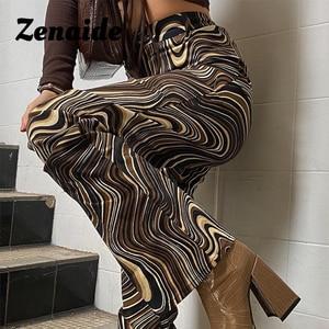 Брюки Zenaide с высокой талией в уличном стиле, винтажные модные штаны с принтом в стиле Tie Dye 2021 Y2K, Клубные брюки с широкими штанинами