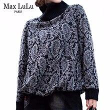 Max LuLu 2019 mode coréenne hiver vêtements dames hauts amples t shirts femmes imprimé tricoté t shirts décontracté col roulé vêtements chauds
