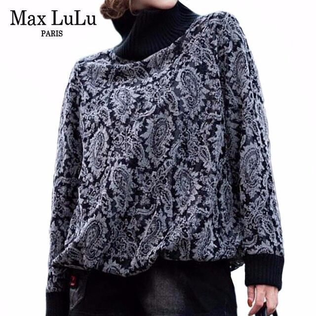 Max LuLu 2019, модная Корейская зимняя одежда, женские свободные топы, футболки, женские трикотажные футболки с принтом, повседневная водолазка, теплая одежда