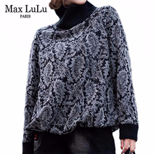 Max lulu 2019 moda coreano roupas de inverno das senhoras soltas topos camisetas mulheres impressas de malha t camisas casual gola alta roupas quentes