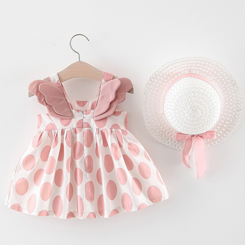 PatPat 2020 Summer Baby Girl 3D Wings Dotted Sleeveless Dress with Hat  Baby Toddler Girl  Sleeveless Dresses